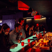People at the lit up bar, The Boogie Room