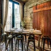 Rustic table, barn wall, Refinery rooftop